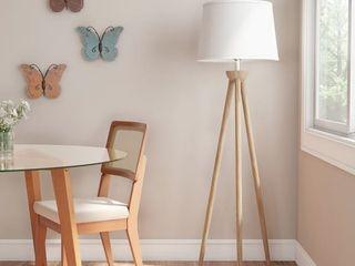 Tripod Floor lamp Modern light Natural Oak Wood White Shade