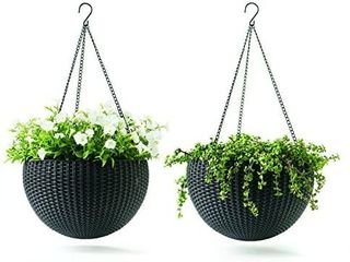 Keter Resin Rattan Set of 2 Round Hanging Planter Baskets for Indoor and Outdoor Plants Perfect for Porches and Patio Decor  Dark Grey