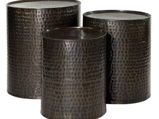 Olivia   May   Metal Cylinder Accent Tables  Set of 3  Brown