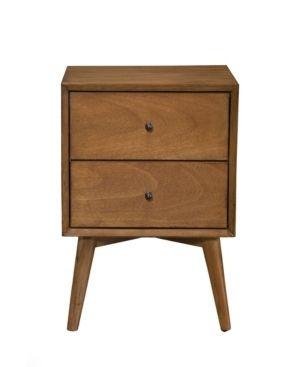 Alpine Furniture Flynn Mid Century Modern 2 Drawer Nightstand in Acorn Finish