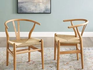 The Curated Nomad lumos Bamboo Wood and Rope Dining Chairs  Set of 2