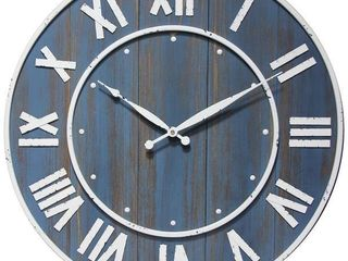 Wine Barrel Blue Rustic 23 In Decorative Wall Clock