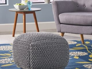 Christopher Knight Home   Finch Knitted Cotton Square Pouf