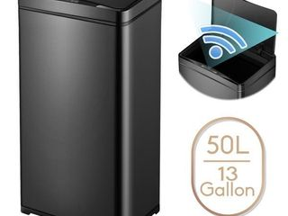 13 Gallon Automatic Trash Can Black Steel Touchless Motion Sensor Soft Close lid 50l lED Timer  large Capacity