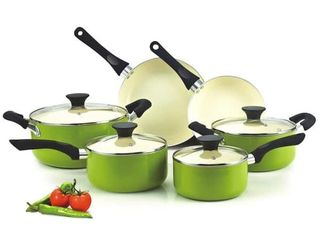 Cook N Home 10 Piece Nonstick Ceramic Coating Cookware Set  Green