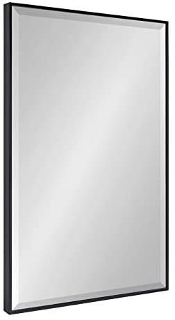 Kate and laurel Rhodes large Framed Decorative Rectangle Wall Mirror  25  x 37  Black