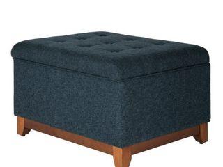 HomePop Navy Chunky Textured Decorative Storage Bench