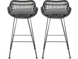 Christopher Knight Home   Dale Wicker Bar Stool with Cushion  Set of 2