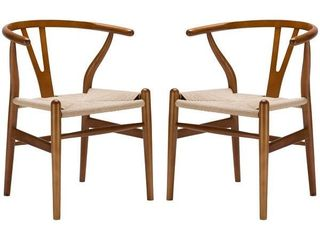 Poly and Bark Weave Chairs  Set of 2