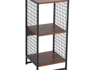 Carbon loft lerner 2 cube Wall Unit with Mesh Side Panels  Hickory