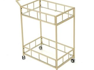 Christopher Knight Home   Falon Indoor Modern Bar Cart with Tempered Glass
