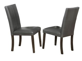 Wood and leather Dining Side Chairs  Set of 2  Gray