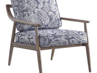 OSP HOME   Samuel Arm Chair with Brown Brushed Finish   Blue Paisley