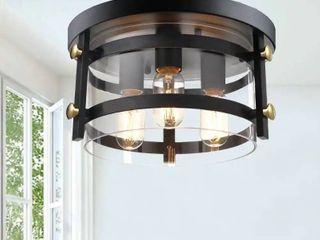 Teresa Metal and Clear Glass 13  W 3 light Black Flush Mount