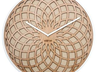 Unek Goods NeXtime large Sun Wall Clock  White Frame and Hands  Beige Fabric and Natural Wooded Face