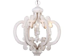 Distressed Antique White Wooden 6 light Chandelier   Off White
