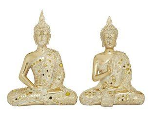 Gold Resin Sitting Buddha Sculptures  Set Of 2   8 x 5 x 10