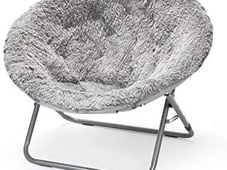 Urban Shop Oversized Mongolian Saucer Chair  Silver