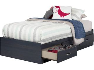 South Shore Ulysses Mates Bed with 3 Drawers  Twin 39 inch  Blueberry