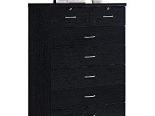 Hodedah HI70DR Black 7 with locks On 2 Top Chest of Drawers