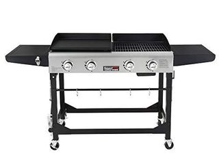 Royal Gourmet GD401 Portable Propane Gas Grill and Griddle Combo with Side Table   4 Burner  Folding legs Versatile  Outdoor   Black   USED
