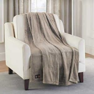 Brookstone Electric Heated Throw 4 heat Settings Gray