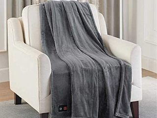Brookstone Electric Heated Throw 4 heat Settings Dark Gray