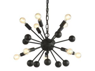 Orbit 19 5  10 light Adjustable Iron Modern Industrial Sputnik lED Chandelier  Black by JONATHAN Y