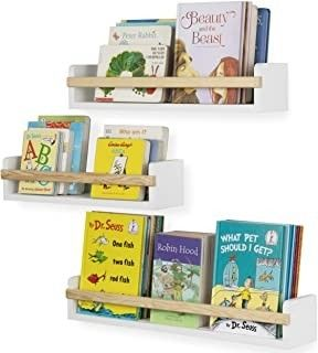 Wall Mount Nursery DAccor Kids Bookshelf Floating Wall Shelves Book Photo Display Varying Sizes Set of 3 White