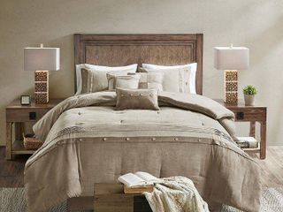 Powell Queen Faux Suede Comforter Set Tan