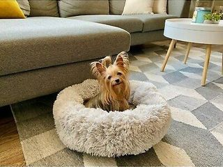 Soft Plush Faux Fur Fluffy Round Donut Pet Bed for Dogs and Cats  Small