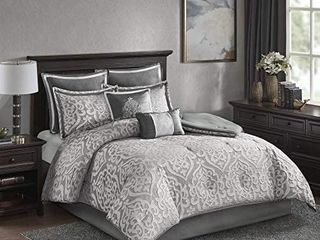 Madison Park Odette 8 Piece Jacquard Season Down Alternative Bedding  Matching Shams  Bedskirt  Decorative Pillows  King  Silver