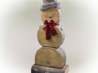 Alpine Corporation Wooden Christmas Snowman Statue Holiday Decoration  BASE IS BROKEN OFF