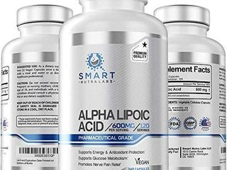 Alpha lipoic Acid 600mg Per Serving  240 Vegan Capsules  Pharmaceutical Grade  Gluten Free  Pure Non GMO AlA  Supports Healthy Blood Sugar  Energy   Anti Oxidant   UNKNOWN AMOUNT