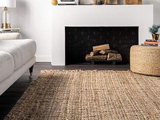 nulOOM Hand Woven Chunky Natural Jute Farmhouse Area Rug  7  6  x 9  6  Natural