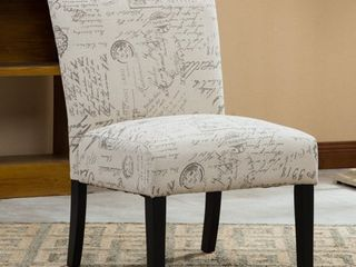 Roundhill Botticelli English letter Print Fabric Armless Contemporary Accent Chair  Single