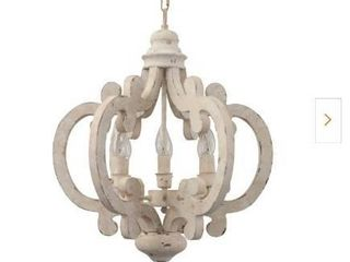 Cottage Chic Crown 6 light Distressed White Wood Chandelier with Farmhouse Wooden Pendant