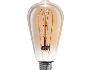 Feit Electric 40 Watt Equivalent ST19 Dimmable Amber Glass Vintage Edison lED light Bulb with M Type Filament Warm White  1 Bulb
