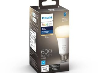 Philips Hue White A19 lED 50 Watt Equivalent Dimmable Wireless Smart light Bulb with Bluetooth