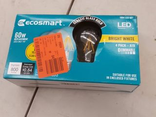 Ecosmart 60w Equiv  A19 Dimmable led light Bulbs In Bright White 2 Pk