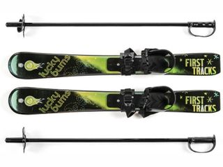 lucky Bums Kid s Beginner Snow Skis and Poles  Green Black  70 cm