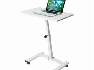 AIRlIFT White Mobile laptop Computer Desk Cart With Adjustable Height Range 20 5 in to 33 in