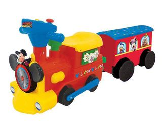 Disney Mickey Mouse 2 in 1 Battery Operated Train with Tracks and Caboose