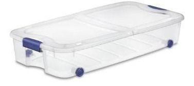 Bella Storage Solution 6 Gallon  Clear Underbed Tote with latching lid