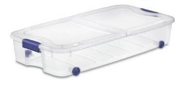 Bella Storage Solution 6 Gallon  44 Quart  Clear Underbed Tote with latching lid