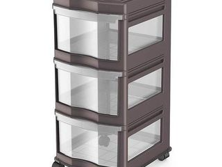 life Story Classic 3 Shelf Storage Container Organizer Plastic Drawers  Gray