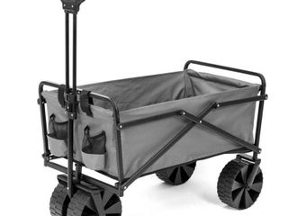 Seina Manual 150 Pound Capacity Folding Utility Beach Wagon Outdoor Cart  Gray