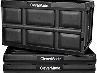 CleverMade 32l Collapsible Storage Bins   Durable Plastic Folding Utility Crates  Solid Wall Stackable Containers for Home   Garage Organization  Black