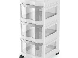 life Story Classic 3 Shelf Storage Container Organizer Plastic Drawers  White