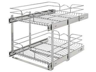 Rev A Shelf 5WB2 1822CR 1 18 x 22  Two Tier Kitchen Storage Wire Basket  Chrome